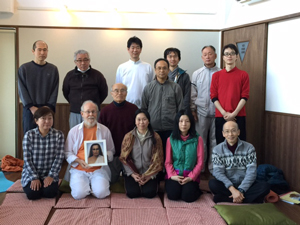 M. G. Satchidananda and participants in a 3rd level Kriya Yoga initiation seminar                   at the YMCA camp in view of Mt. Fuji, Japan, March 19-25, 2015 - 1 (click image to enlarge)