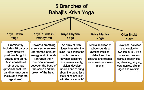 5 Branches of Babaji's Kriya Yoga
