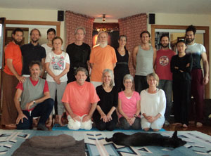Durga Ahlund, M. G. Satchidananda and participants in the Kriya Hatha Yoga Teacher Training, Quebec Ashram September 1, 2014  (click image to enlarge)