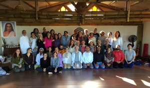 M. G. Satchidananda and 42 participants in the 3rd initiation in Cunha, Brazil, November 14-22, 2015.                 Seated next to him in the center are Ramani and Narada, owners of the Flora des Alguas retreat center